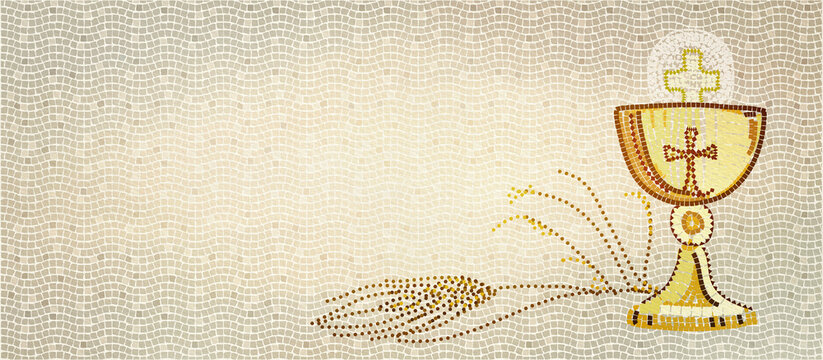 The first Holy Communion, mosaic. Christian background.