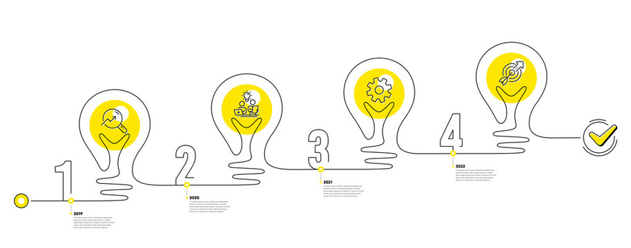 Continuous line timeline with lamp light bulbs and icons. 4 steps idea journey path of business project process. Infographic path timeline. Business journey goal. Continuous line growth chart. Vector