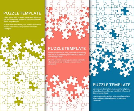 Jigsaw puzzle background set with many colorful pieces. Abstract mosaic template
