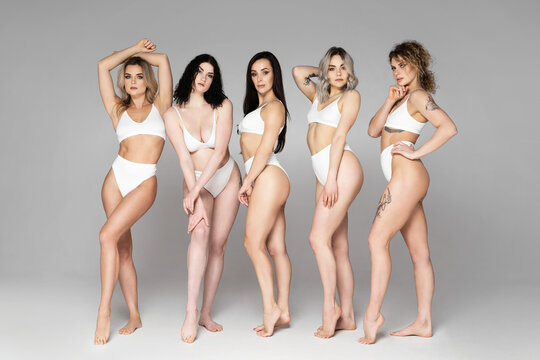 Group of different women wearing lingerie on gray background