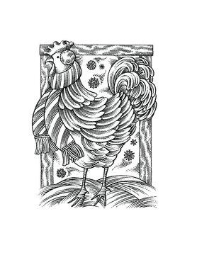 woodcut style illustration of hen