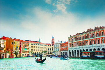 Grand Canal with old medieval architecture and gondolas in Venice, Italy. Summer cityscape. Famous travel destination
