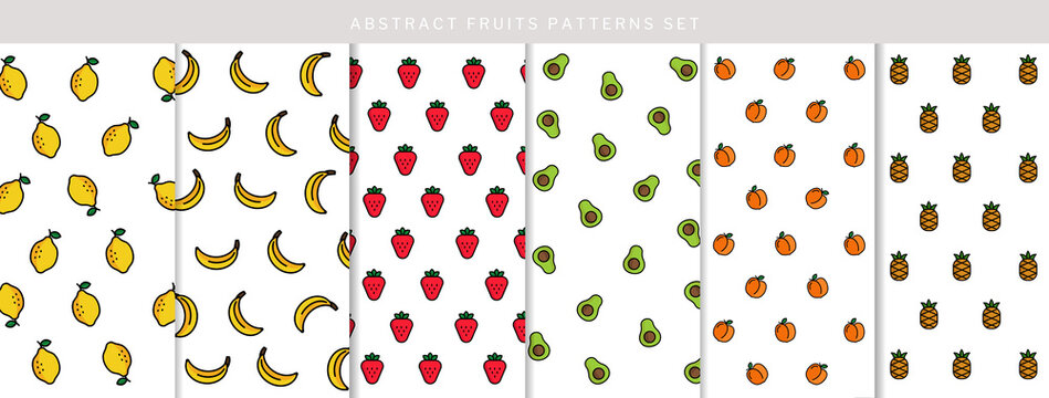 Abstract lemon, banana, strawberry, avocado, peach and pineapple pattern set, boho fruit pattern collection, design for decoration, wrapping paper, fabric, print or textile, vector illustration