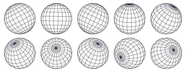 Globe grid spheres. Striped 3D spheres, geometry globe grid, earth latitude and longitude line grid vector symbols set. Spherical grid globe shapes