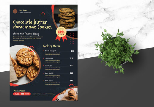 Food Menu Flyer with Brown Accents