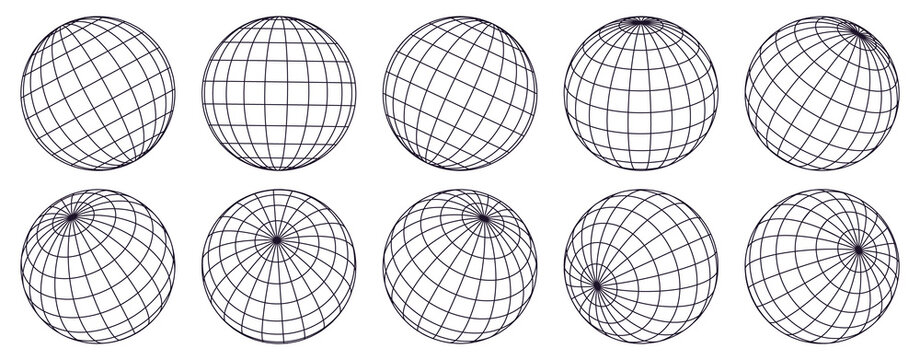 Globe grid spheres. Striped 3D spheres, geometry globe grid, earth latitude and longitude line grid vector symbols set. Spherical grid globe shapes