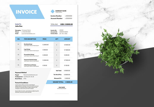 Clean Invoice Design with Blue Accents