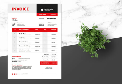 Clean Invoice Design with Red Accent
