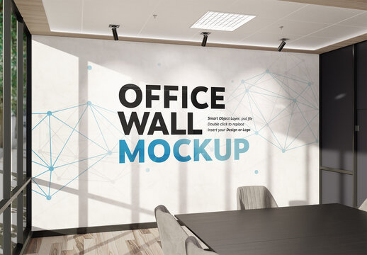 Wall Mockup in Bright Modern Office Interior