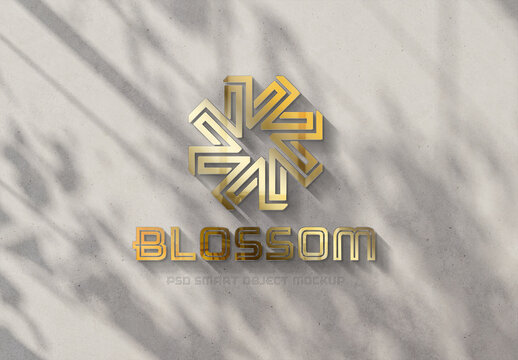 Gold Logo Mockup on Sunny Wall with 3D Glossy Effect