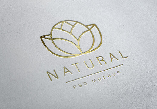 Gold Logo Mockup on Paper Texture with Debossed Effect