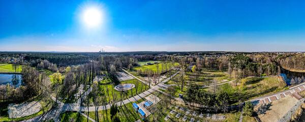 Fototapeta Rybnik Kamień na Śląsku w Polsce, ośrodek sportowy i wypoczynkowy z lotu ptaka
