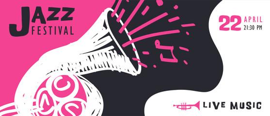 Fototapeta Jazz music doodle saxophone art banner template