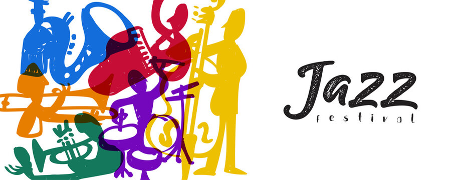 Jazz festival music band player doodle banner