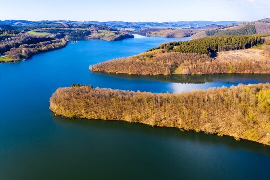 the bigge lake in germany in spring from above