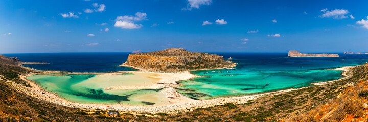 Fototapeta Amazing beach with turquoise water at Balos Lagoon and Gramvousa in Crete, Greece. Cap tigani in the center. Balos beach on Crete island, Greece. Landscape of Balos beach at Crete island in Greece.