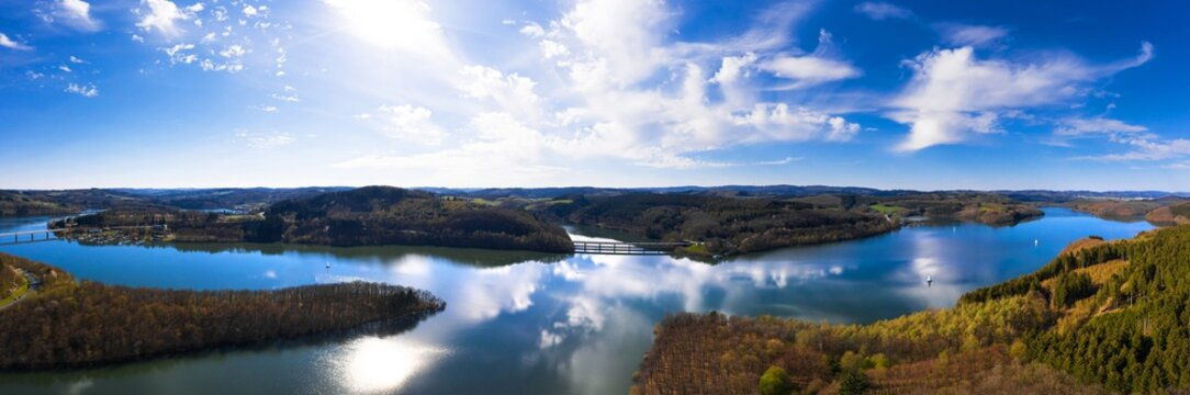 the bigge lake in germany in spring from above as a high definition panorama