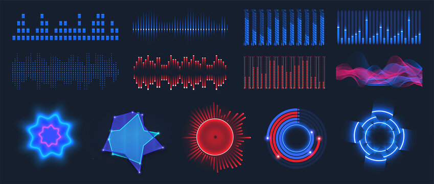 Sound waves. Frequency audio waveform, music wave in HUD interface elements isolated background. Microphone voice control set and sound recognition. Collection audio waves, voice graph signal. Vector
