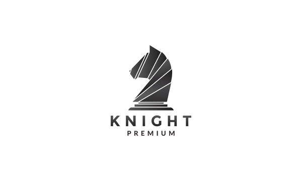 geometric knight chess abstract logo symbol icon vector graphic design illustration