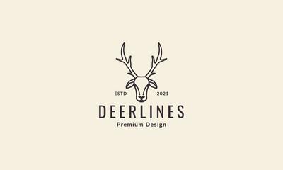 lines animal head deer hipster logo vector symbol icon design graphic illustration