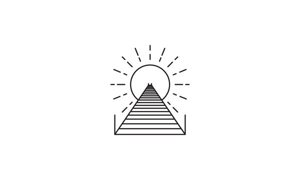 lines pier or dock wood logo vector symbol icon design graphic illustration