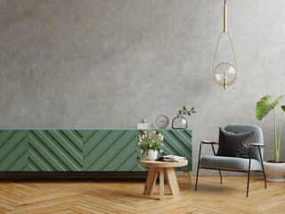 Fototapeta Mock up modern living room with armchair and plant on concrete wall background. obraz