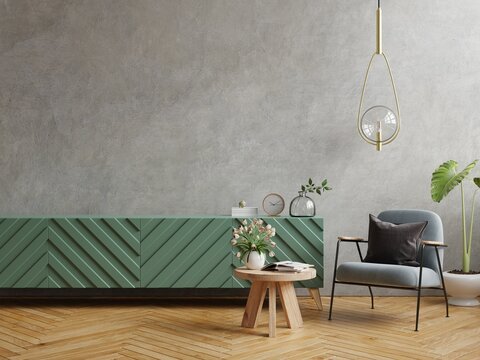 Mock up modern living room with armchair and plant on concrete wall background.