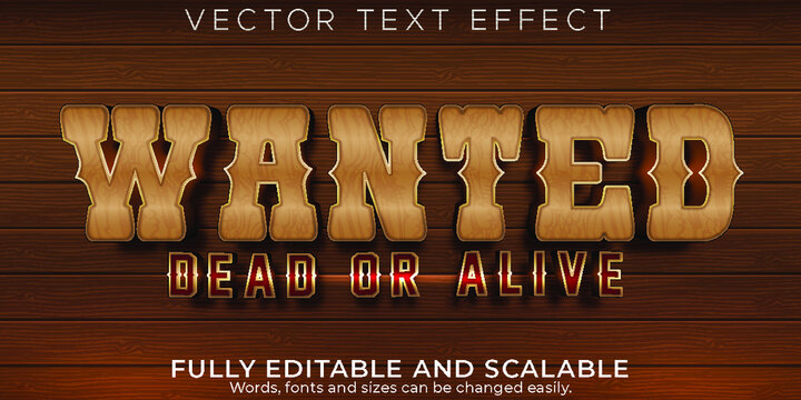 Editable Text Effect Western Wanted Text Style
