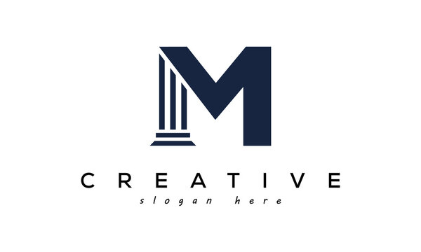 initials monogram M letter attorney and law business logo concept. design template, vector illustration.