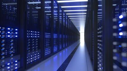 Fototapeta Data Center Computer Racks In Network Security Server Room Cryptocurrency Mining