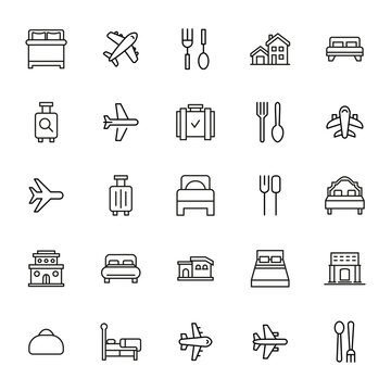 Hotel related vector icon set.