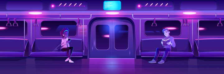People in night subway train car. Woman with phone and man with book in metro wagon with neon glowing illumination. Underground railway carriage with sitting passengers, Cartoon vector illustration