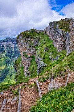 Niederhorn hiking trail in the swiss alps
