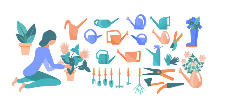 girl transplants flowers. a set of cute colored watering cans, rakes, shovels, scissors, pruners, flowers, rubber boots, gardening gloves. Collection of garden tools on a white background. flat style