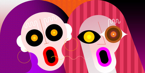 Close-up portrait of couple shocked and amazed women. Two surprised female faces vector illustration.