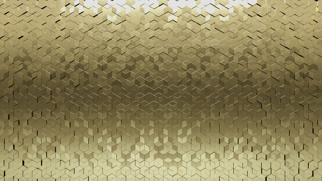 3D, Diamond shaped Mosaic Tiles arranged in the shape of a wall. Glossy, Gold, Bullion stacked to create a Polished block background. 3D Render