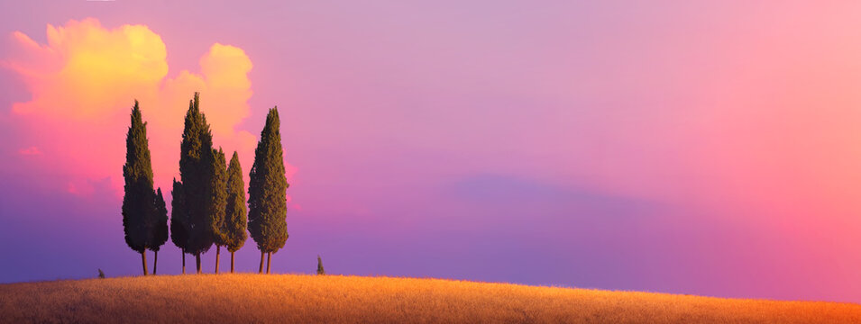 Beautiful Italy Tuscany nature countryside landscape; farm field and cypress trees over sunset sky