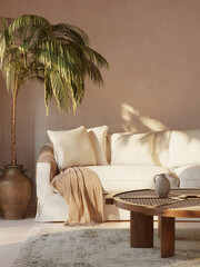 Obraz 3d rendering of a minimal Summer mediterranean relaxed space with earthy tones and a sofa with white slipcover and ceramic pot with a palm plant  - fototapety do salonu