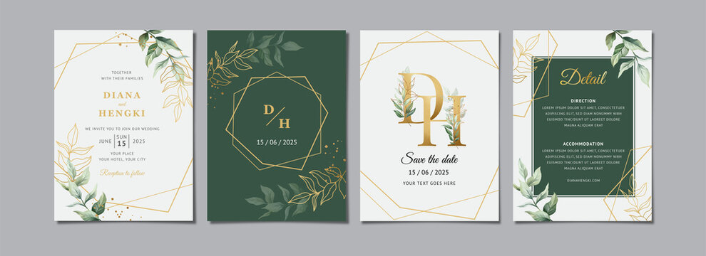 Green gold leaves wedding invitation card template