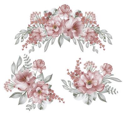 set of rose burgundy flower arrangement watercolor illustration
