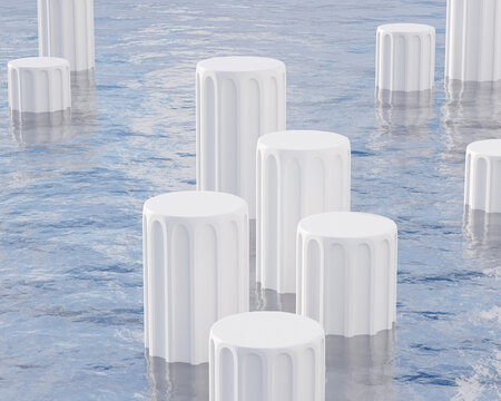 White pillar podiums or pedestals for products or advertising standing in sea or ocean with waves. Minimal 3d illustration render