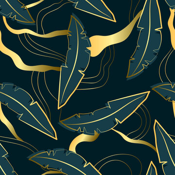 Seamless luxury pattern with dark palm leaves and golden shapes. Natural exotic plant background with lines. Flat vector illustration