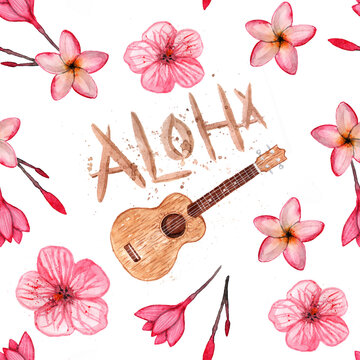 Hawaiian simbols - Luau, Aloha, Ukulele, Plumeria, hibiscus. Seamless pattern. Watercolor illustration.