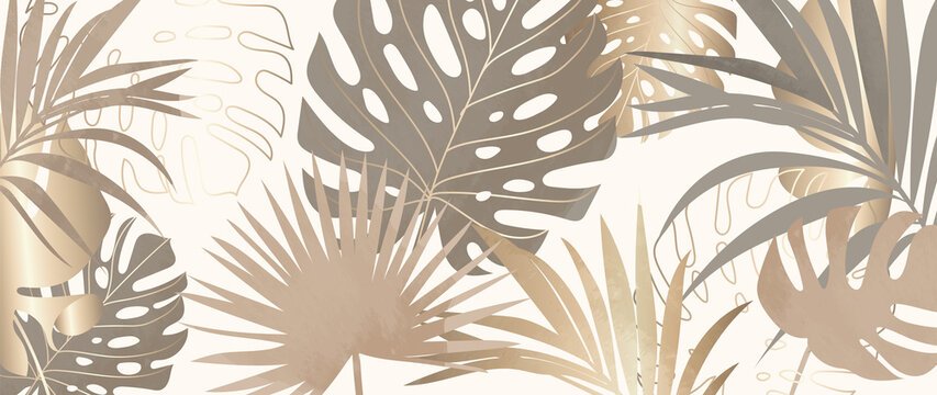 Gold Tropical leaves background vector. Wallpaper design with golden line art texture from palm leaves, Jungle leaves, monstera leaf, exotic botanical floral pattern.