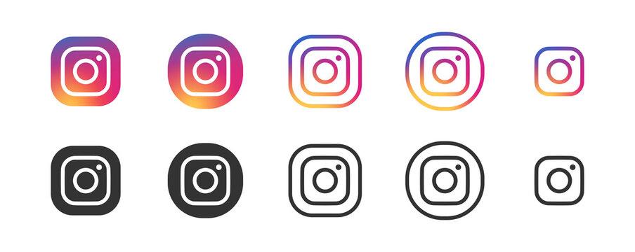 Instagram vector logo icon set