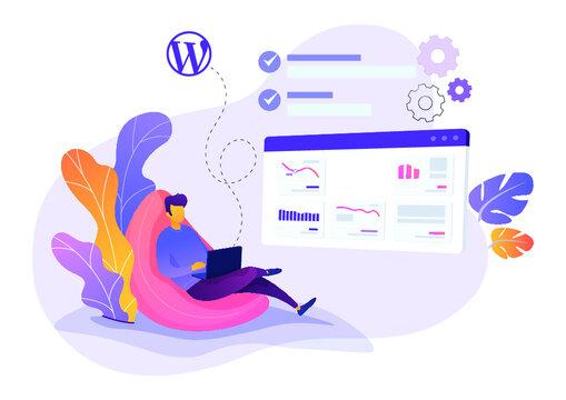 a man sitting with laptop flat illustration | WordPress issue