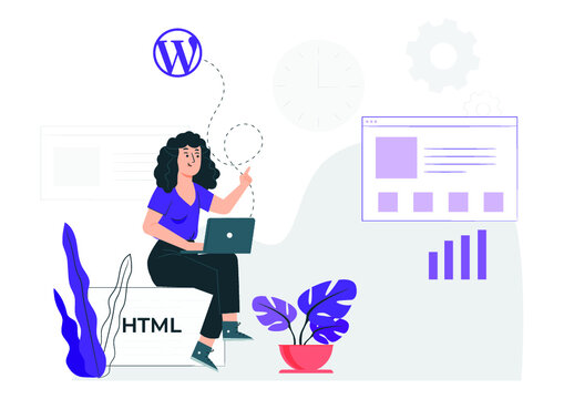 a woman sitting with laptop fixing WordPress issue   web designer   flat charecter