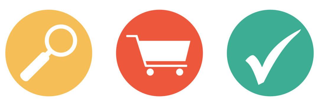 Bunter Banner mit 3 Buttons: Supermarkt, Shop oder Produkte suchen
