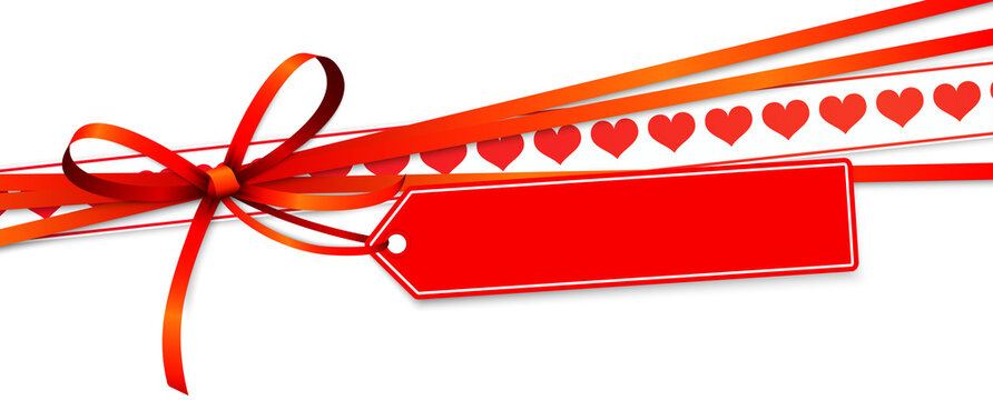 valentine ribbon bow with hearts and hang tag