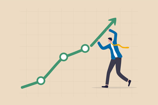Career growth or business achievement, stock market rising up from economic recovery concept, businessman carrying arrow to make stock rising boom graph and chart.